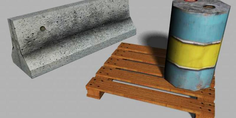 Concrete Barrier, Wooden Pallet & Oil Drum Props
