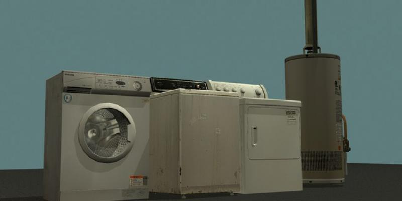 Washer, Dryer, and Hot Water Heater