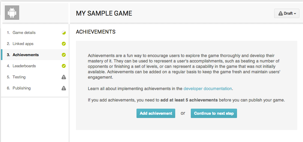 sample of achievements